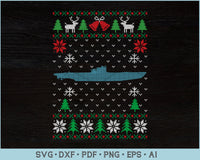 Submarine Ugly Christmas Sweater Design SVG, PNG Printable Cutting Files