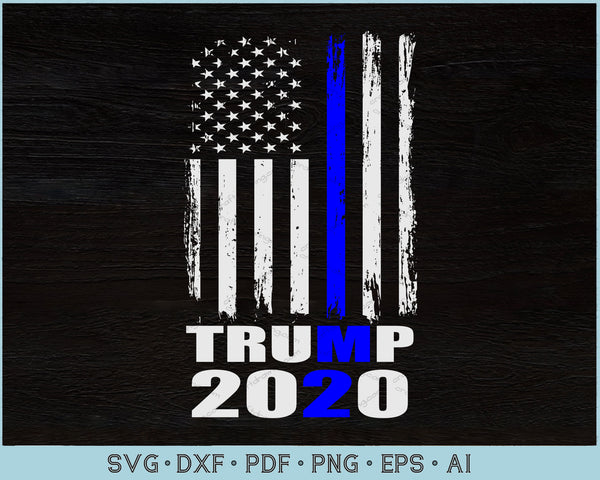 TRUMP 2020 Blue Line USA American Distressed Flag 4th of July Patriotic SVG, PNG Printable Cutting Files