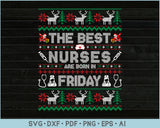 The Best Nurses Are Born In Friday, Ugly Christmas Sweater Design SVG, PNG Printable Cutting Files