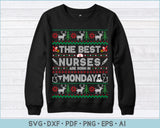 The Best Nurses Are Born In Monday, Ugly Christmas Sweater Design SVG, PNG Printable Cutting Files