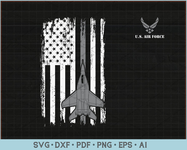US Air Force Distressed American Flag SVG, PNG Printable Cutting Files