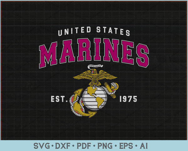 United States Marines est 1975 SVG, PNG Printable Cutting files