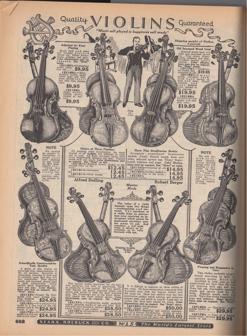Musical instrument pages from 1927 Sears, Roebuck and Co catalogue