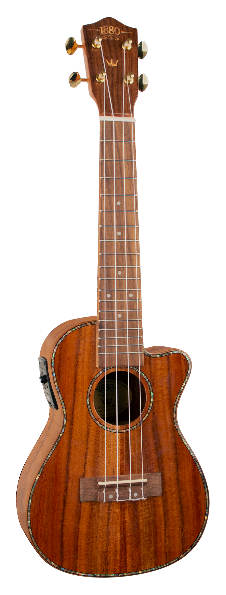 1880 UKULELE CO. 300 Series Concert Ukulele - Cutaway, Electric Acoustic