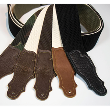 "Load image into Gallery viewer, Franklin 2"" Black Cotton Strap with Pebbled Caramel Glove Leather End Tab"
