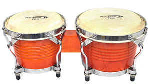 "Percussion Plus Deluxe 6 & 7"" Wooden Bongos in Gloss Natural Lacquer Finish"