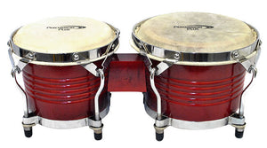 "Percussion Plus Deluxe 6 & 7"" Wooden Bongos in Gloss Red Lacquer Finish"