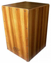 Load image into Gallery viewer, Opus Percussion Wooden Cajon in Zebrawood with Deluxe Carry Bag