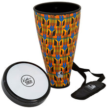 "Load image into Gallery viewer, Toca Flex Drum 9-1/2"" Junior in Kente Cloth with Strap"