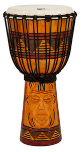 "Toca Origins Series Wooden Djembe 10"" Synthetic Head in Tribal Mask"