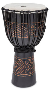 "Toca Street Carved Series Wooden Djembe 12"" Synthetic Head in Onyx"