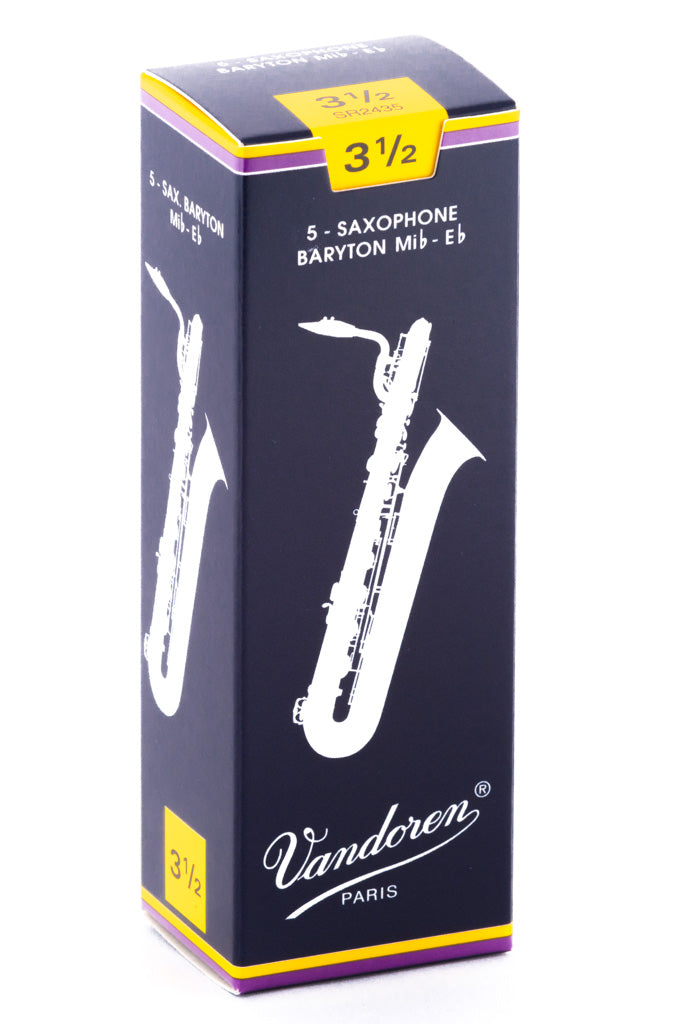 Vandoren Baritone Sax Reeds - TRADITIONAL - Grade 3.5 - Box of 5