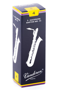 Vandoren Baritone Sax Reeds - TRADITIONAL - Grade 4.0 - Box of 5