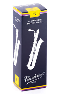 Vandoren Baritone Sax Reeds - TRADITIONAL - Grade 5.0 - Box of 5
