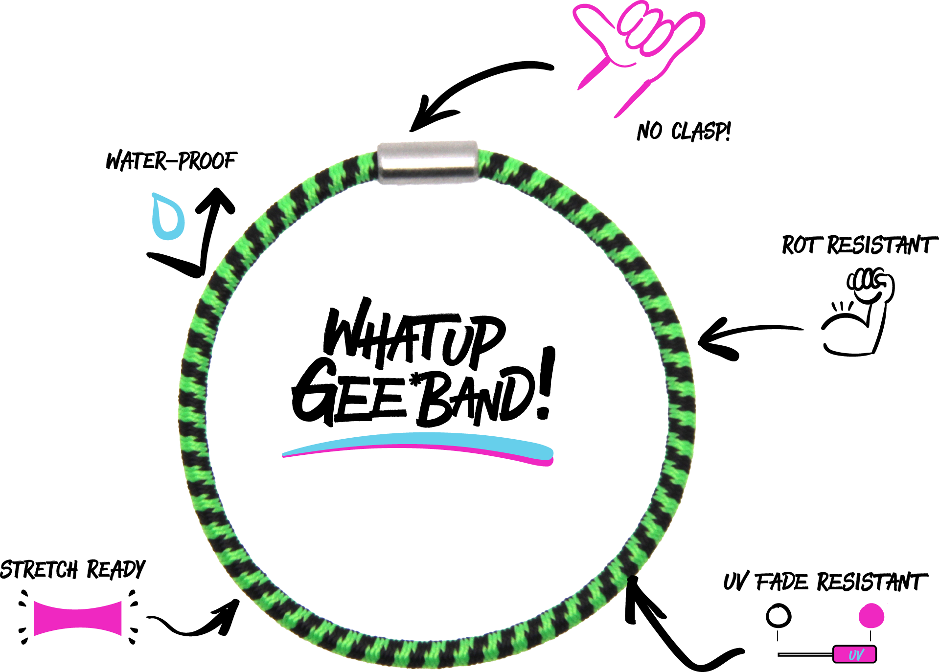 What Up Gee*Band! | No Clasp! | Rot Resistant | UV Fade Resistant | Stretch Ready | Water-Proof
