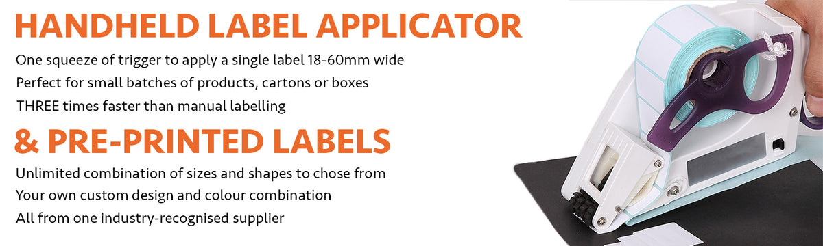Handheld Label Applicator. Handheld Label Dispenser. Lightweight, for one handed use. Apply labels three times faster than by hand. And Rote supply pre-printed labels of almost unlimited size, colour combination and shape.