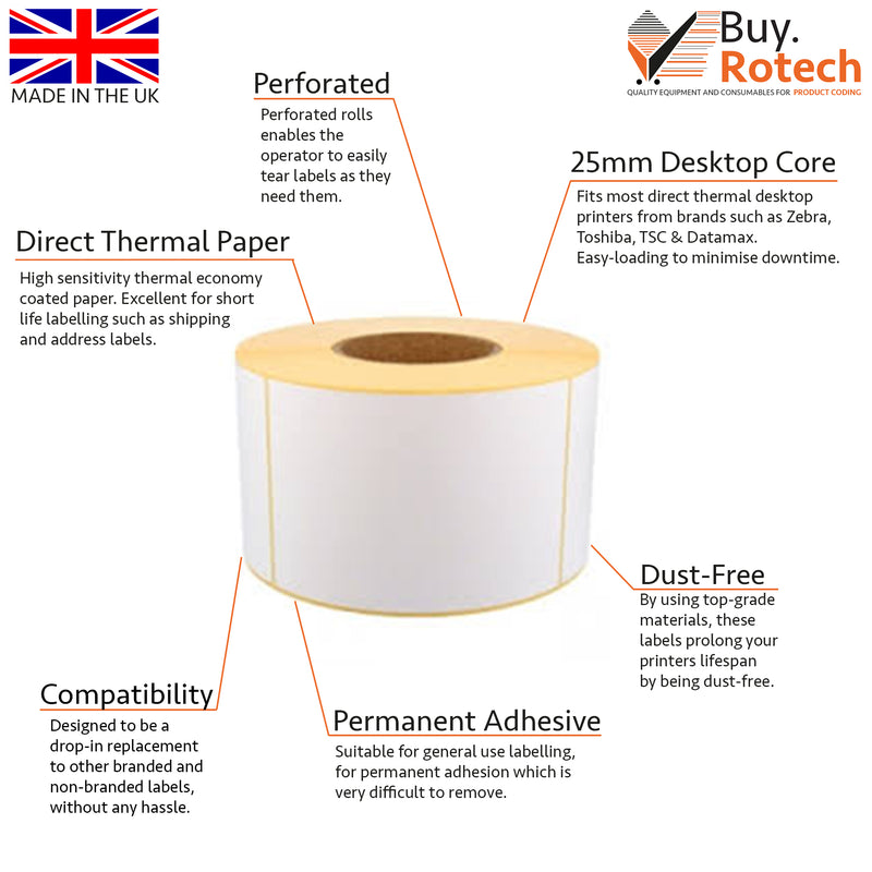 Plain White Perforated Desktop Direct Thermal Label 50mm x 25mm (Box of 12)