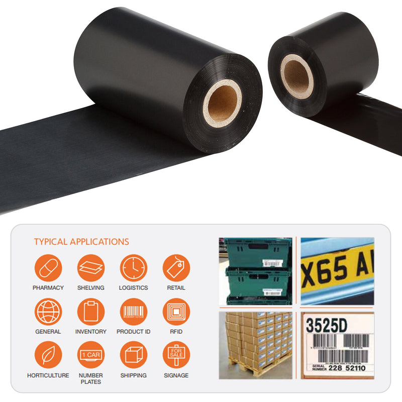 110mm x 600M RT110 High Performance Resin Enhanced Wax Thermal Transfer Ribbon, Outside Wound, Box of 8, Manufactured on a special injection moulded core with splines
