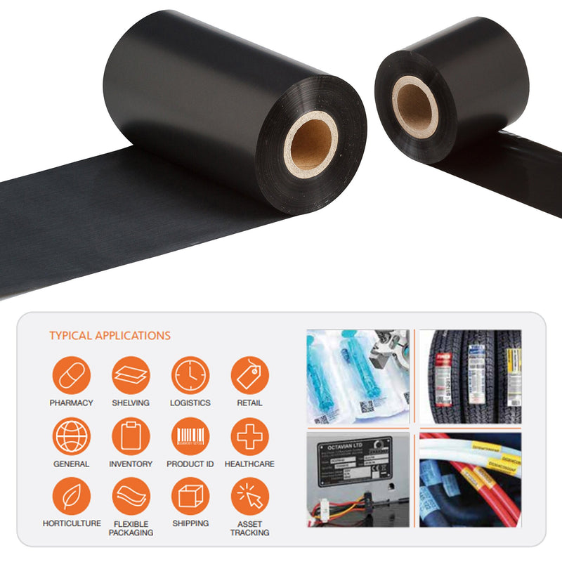 55mm x 900M RT530 Specialty Resin Thermal Transfer Ribbon, Inside Wound, Box of 16, 25.6mm ID plastic core