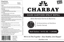 Load image into Gallery viewer, Charbay Hand Sanitizer Spray Refill - 1/2 Gallon / 64 oz