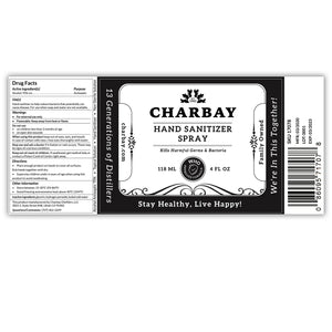 Charbay Hand Sanitizer Spray 4 PACK (4 x 4 fl oz/118mL bottles)