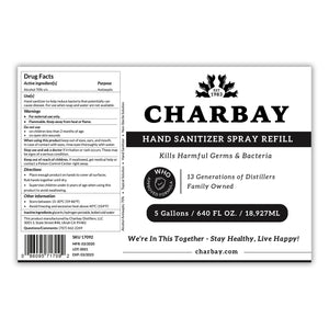 Charbay Hand Sanitizer Spray Refill - 5 Gallons