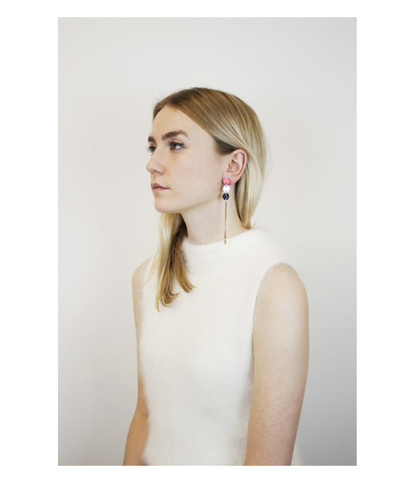 Wolf & Moon | Hexagon Tassel Earrings