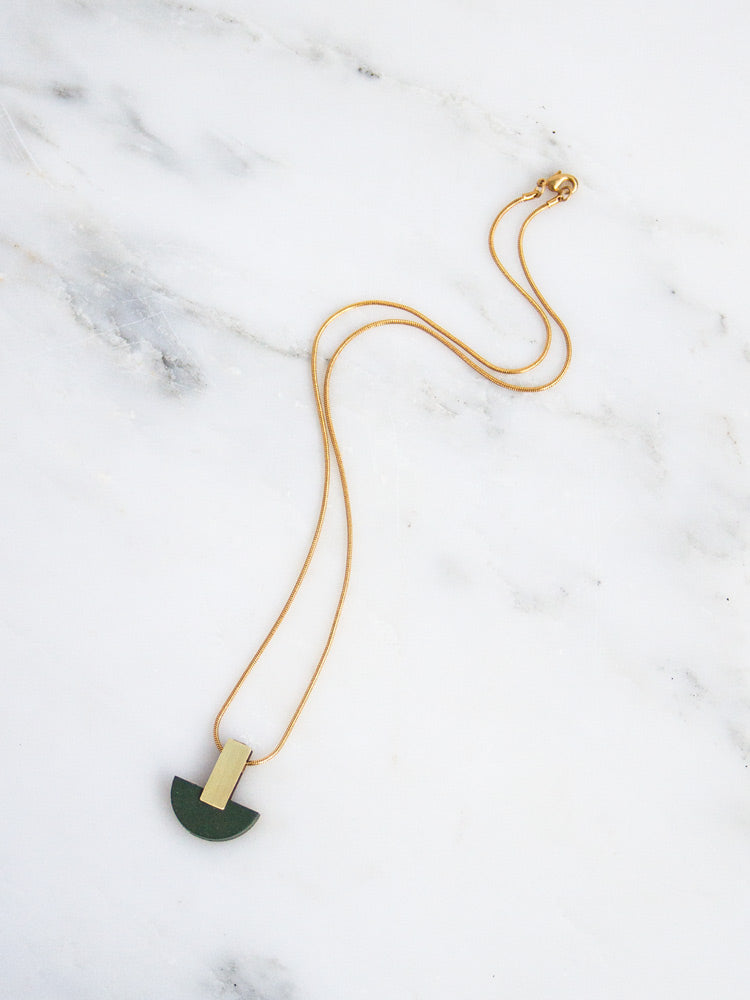 Crescent Necklace in Spruce Green