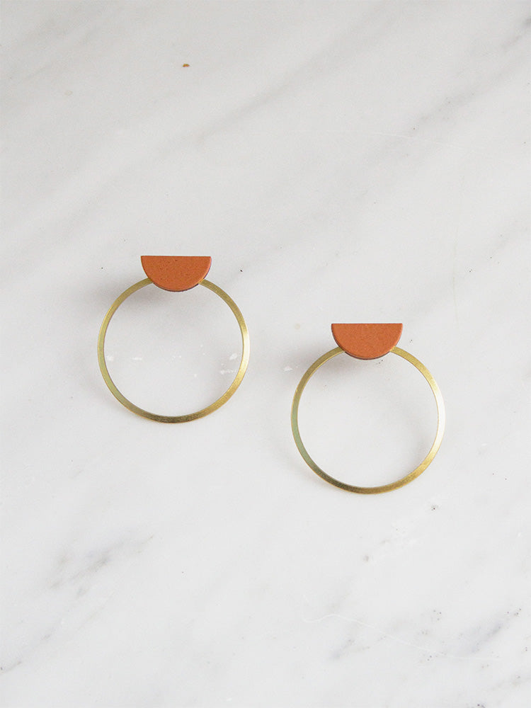 Half Circle Hoop Studs in Burnt Orange