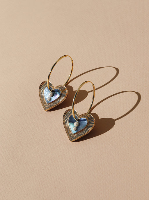 Lyra Hoops in Blue Mother of Pearl *Limited Edition*