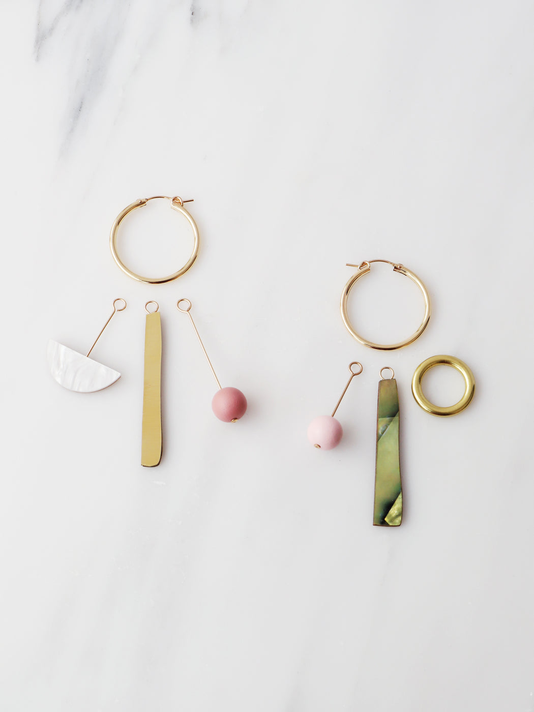Abstract Charm Hoops in Olive/White. Original jewellery handmade in the U.K. by Wolf & Moon.