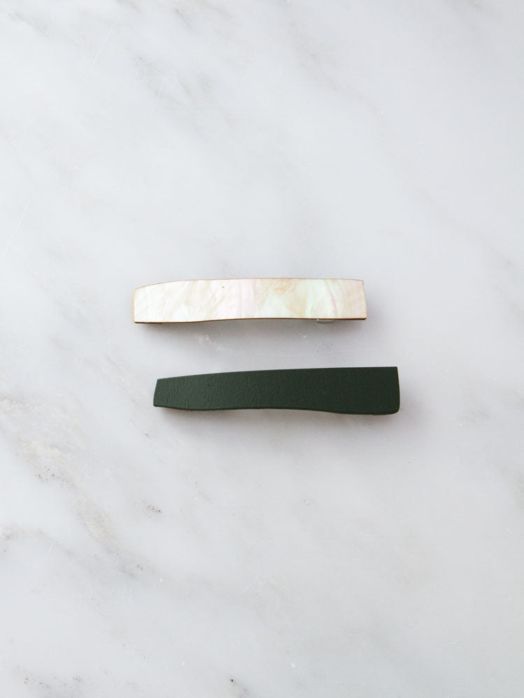 Abstract Hair Clips in Mother of Pearl / Spruce Green