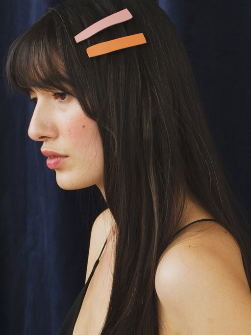 Abstract Hair Clips in Rose / Orange