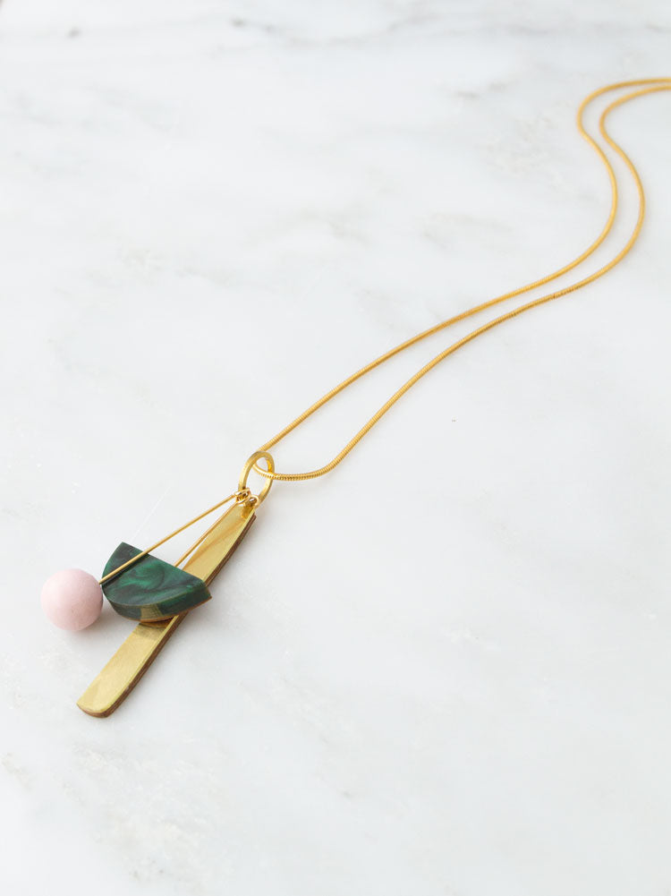 Abstract I Necklace in Green Marble