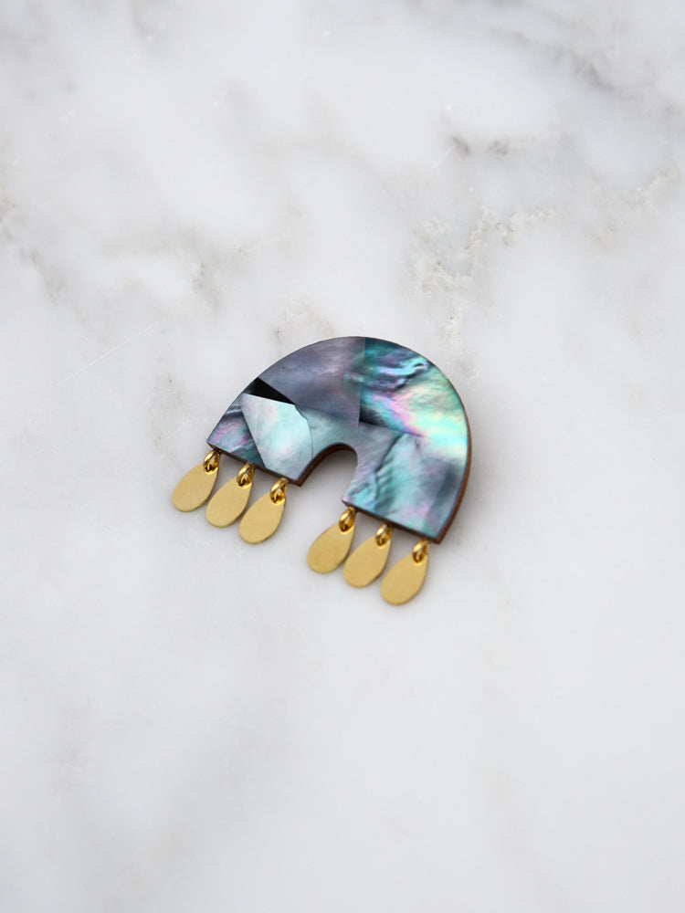 Alana Brooch in Blue Mother of Pearl