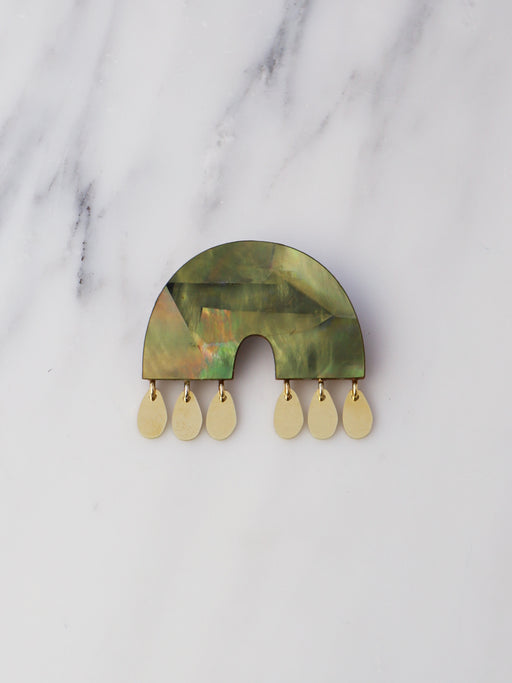 Alana Brooch in Olive Mother of Pearl