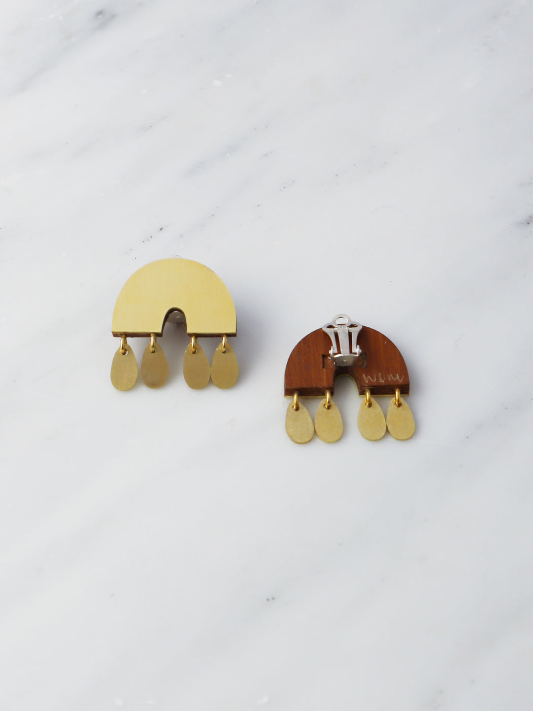Alana Earrings in Brass - Clip-on