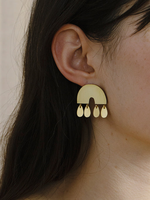 Alana Earrings in Brass