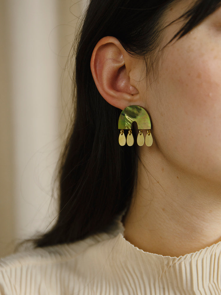 Alana Earrings in Olive Mother of Pearl