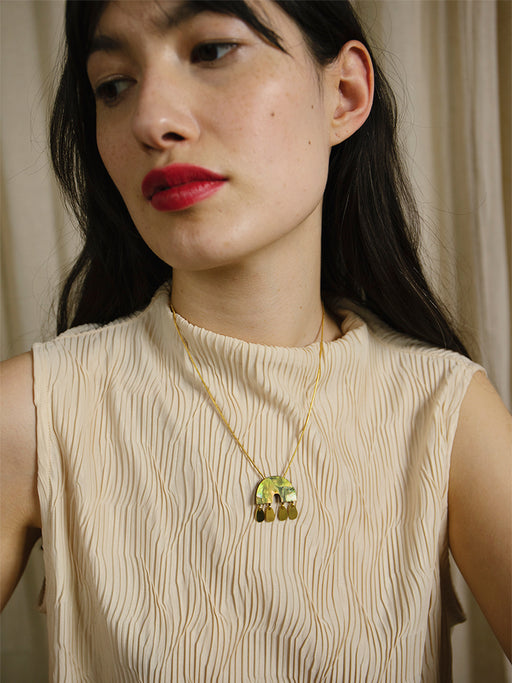 Alana Necklace in Olive Mother of Pearl