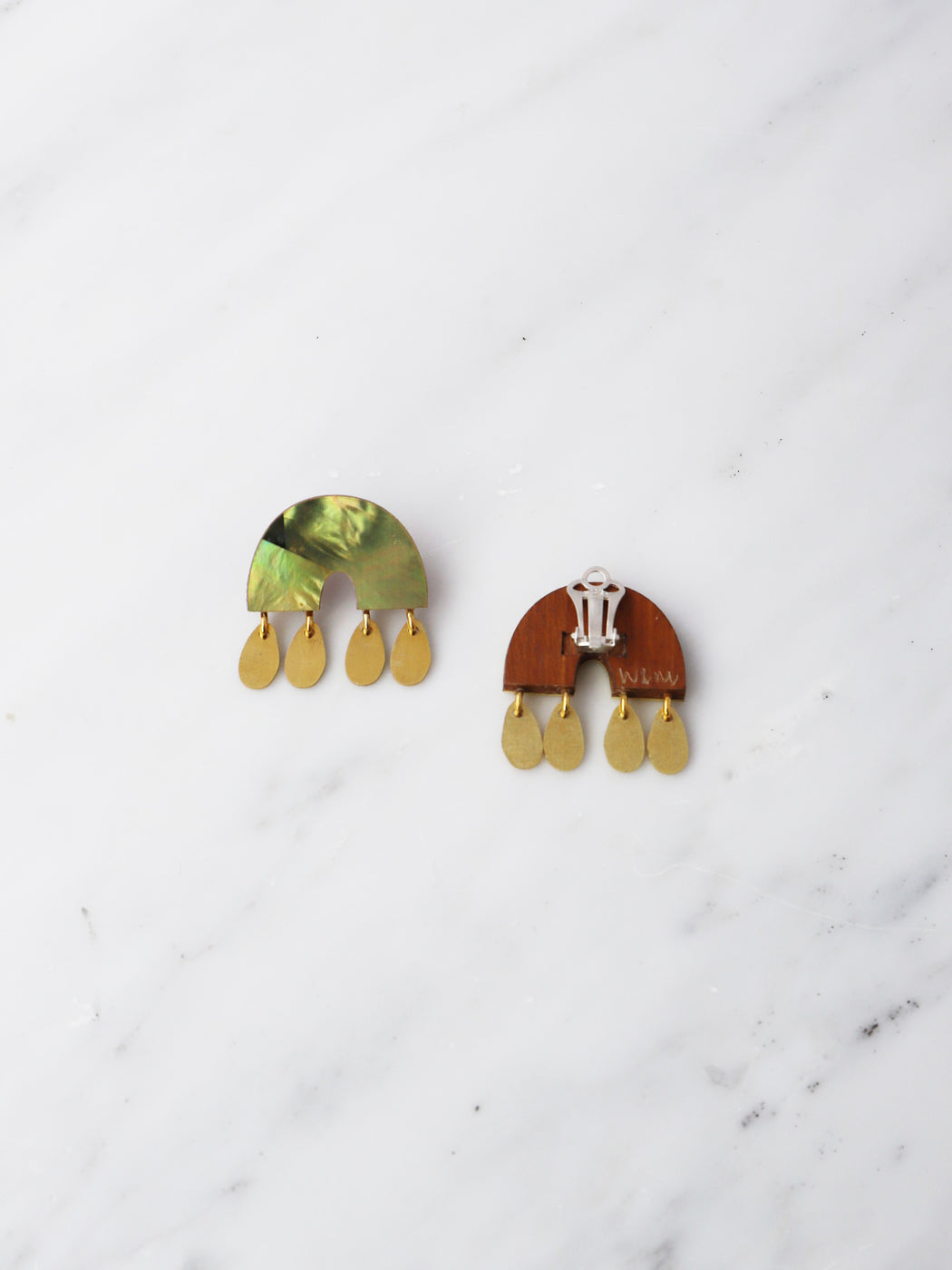Alana Earrings in Olive Mother of Pearl - Clip-on