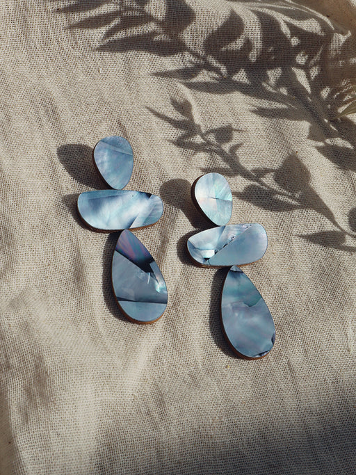 Ana Earrings in Blue Mother of Pearl