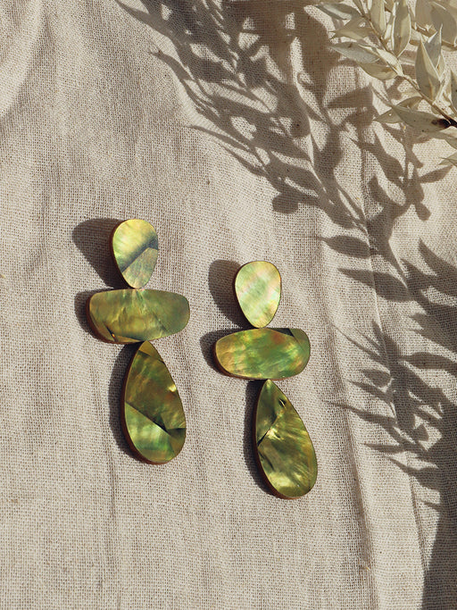 Ana Earrings in Olive Mother of Pearl