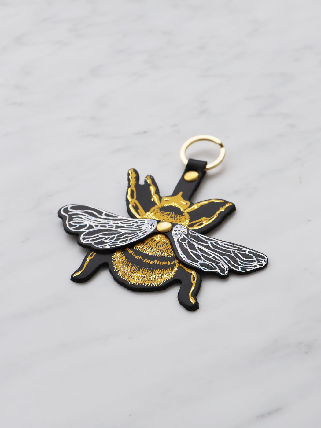 Bee Key Ring in Yellow/Silver