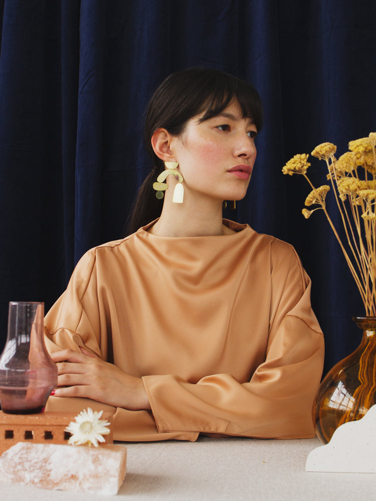 Cassia Earrings in Brass