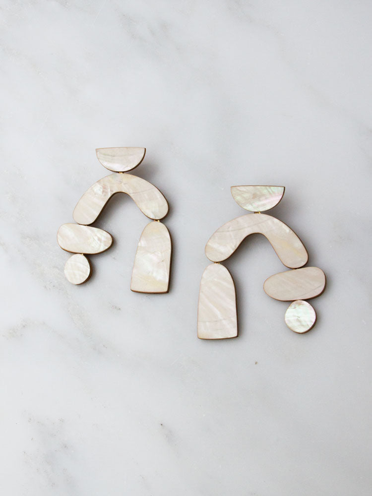Cassia Earrings in Mother of Pearl