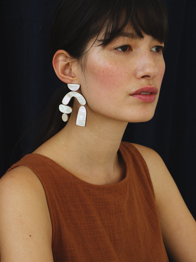 Cassia Earrings in Blue Mother of Pearl