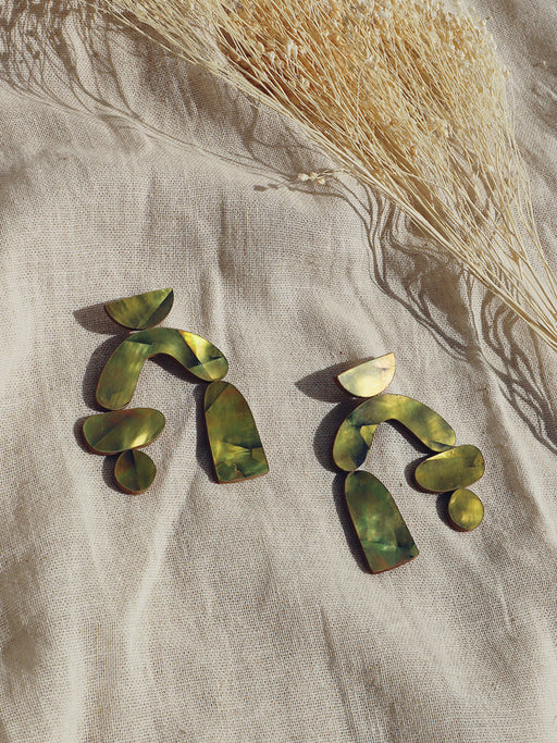 Cassia Earrings in Olive Mother of Pearl