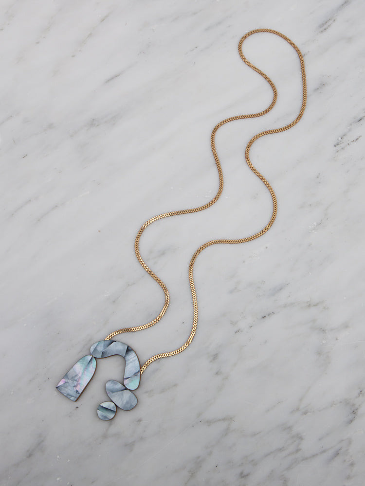 Cassia Necklace in Blue Mother of Pearl