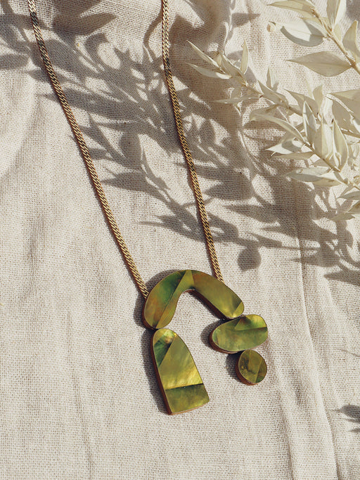 Cassia Necklace in Olive Mother of Pearl